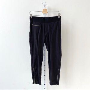 Athleta Mod Trekkie Crop Pants Zip Hem Black 6